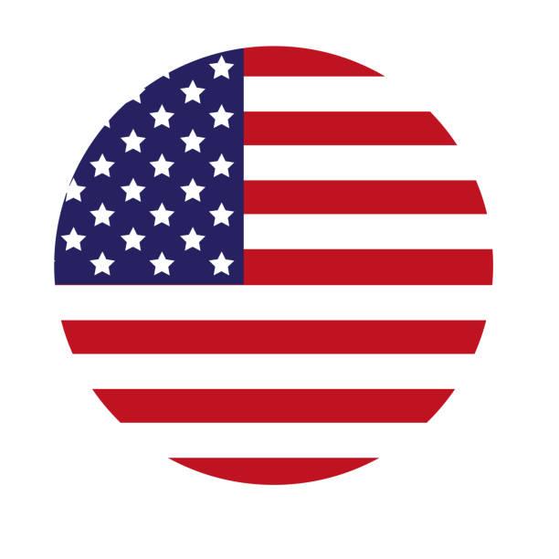 usa-flagge runde symbol - freistaat stock-fotos und bilder