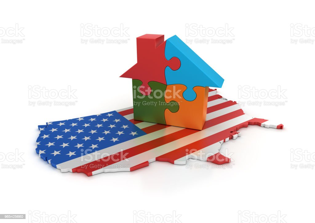 USA Flag Shape with House Puzzle - 3D Rendering royalty-free stock photo