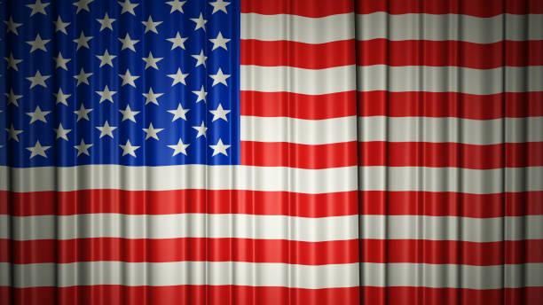 USA Flagge Seidenvorhang auf der Bühne. 3D-Illustration – Foto