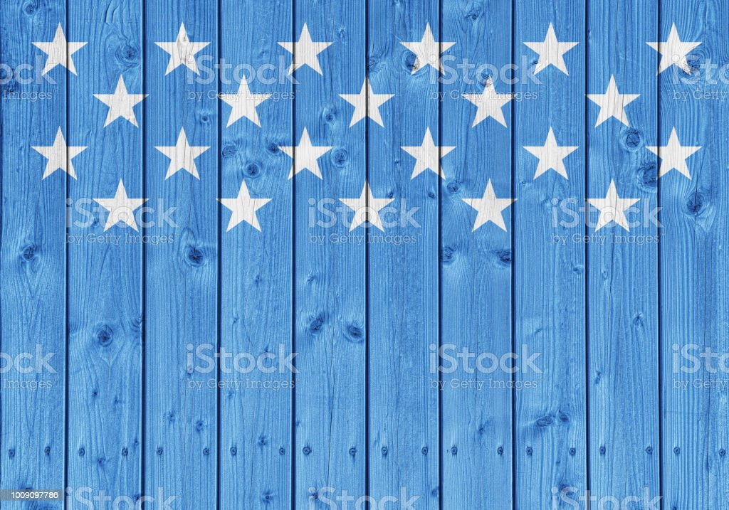 USA flag stars on blue wood planks background stock photo