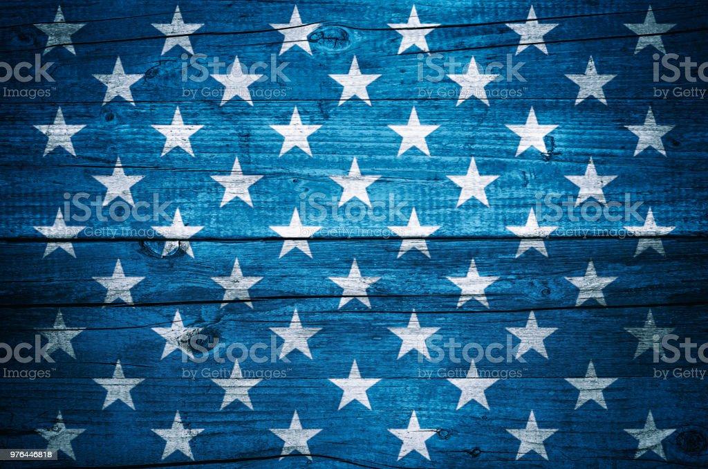 USA flag stars on vintage wood planks background USA flag stars on vintage wood planks background American Culture Stock Photo