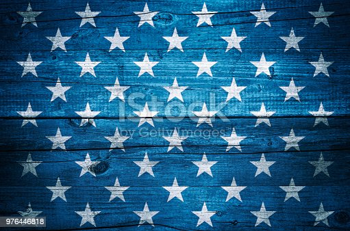 USA flag stars on vintage wood planks background