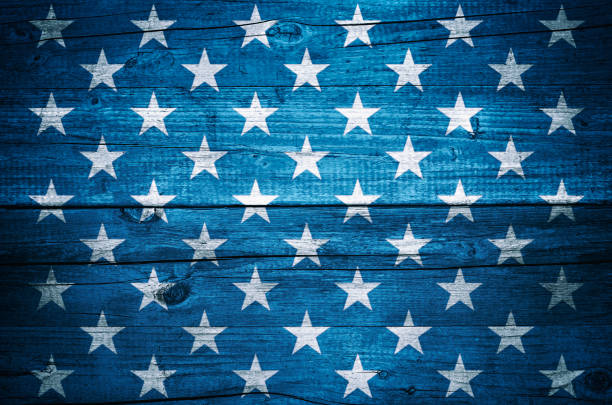 USA flag stars on vintage wood planks background stock photo