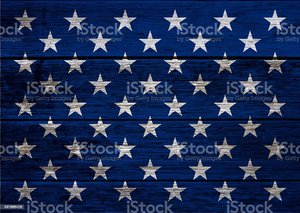 USA flag stars on wood planks background stock photo