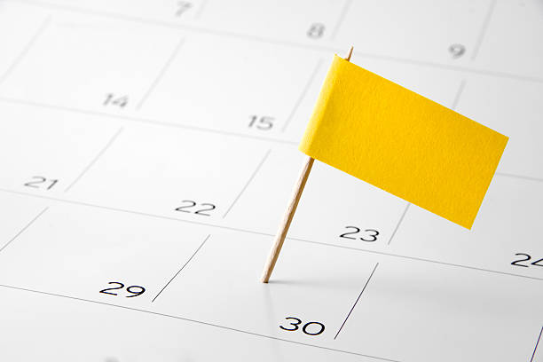 flag the event day or deadline on calendar 2016 - calendar date stock photos and pictures