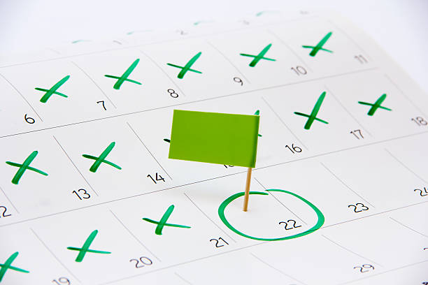 flag the event day or deadline on calendar 2016 - number 21 stock photos and pictures