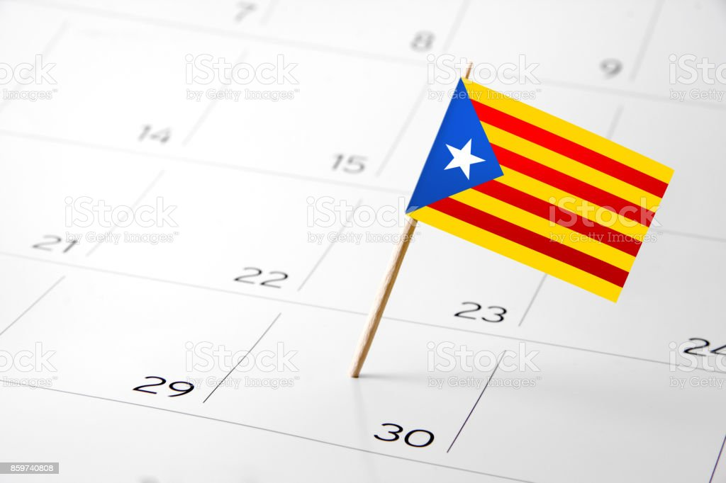 Flag the event day or deadline on calendar 2017 – Spain, Catalonia, Independence, protest, vote stock photo