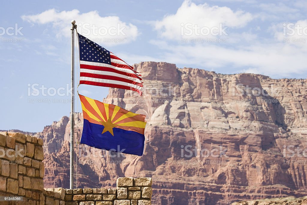 Flag USA and Arizona royalty-free stock photo