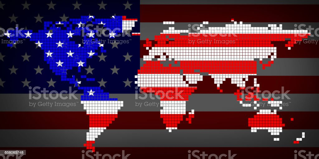 Flag USA and world map royalty-free stock photo