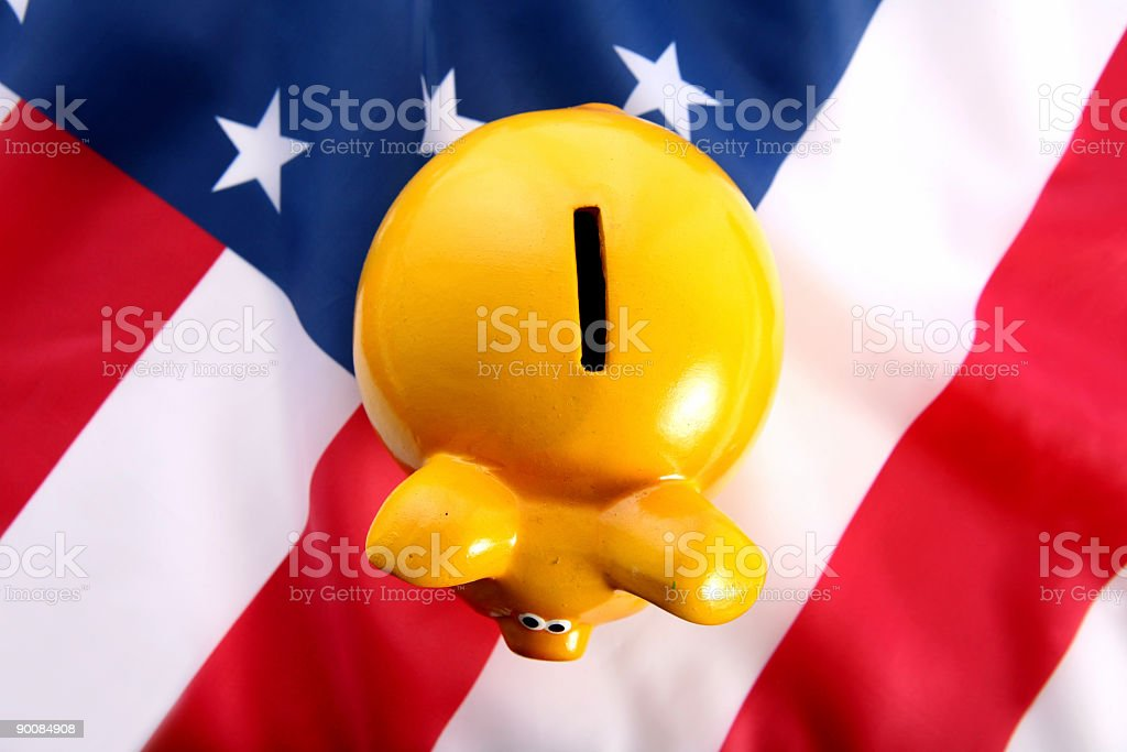 flag USA with piggy bank royalty-free stock photo