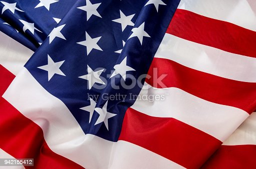 937074172 istock photo flag USA with wave close up 942155412