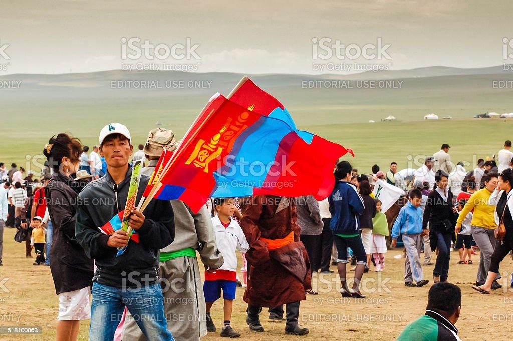 Flag vendor, Nadaam horse race, Mongolia stock photo