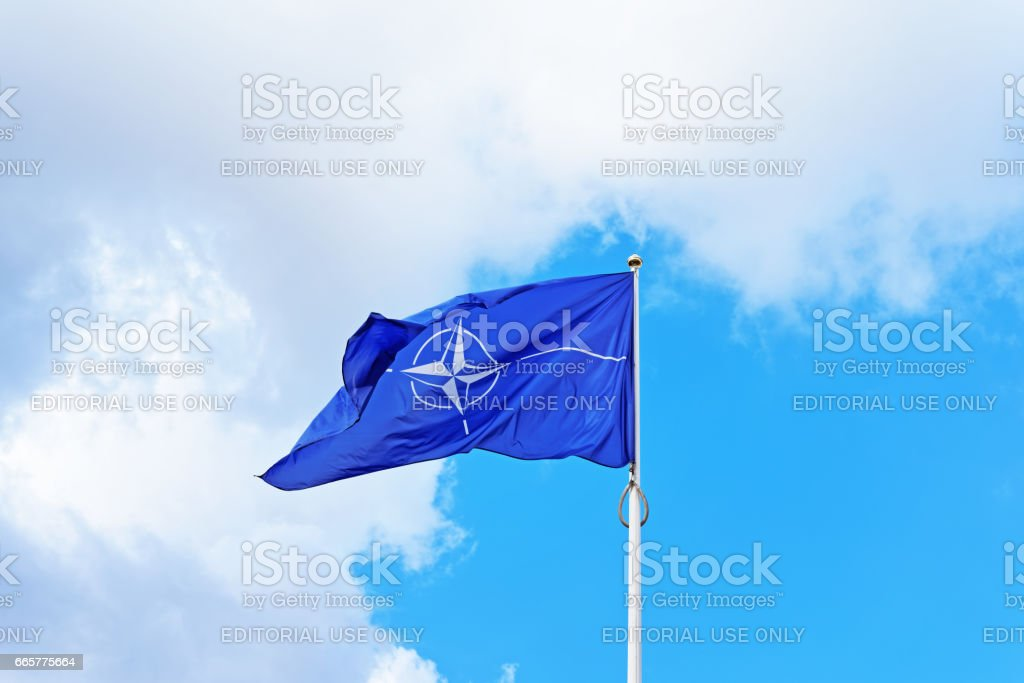 NATO flag waving by wind stock photo