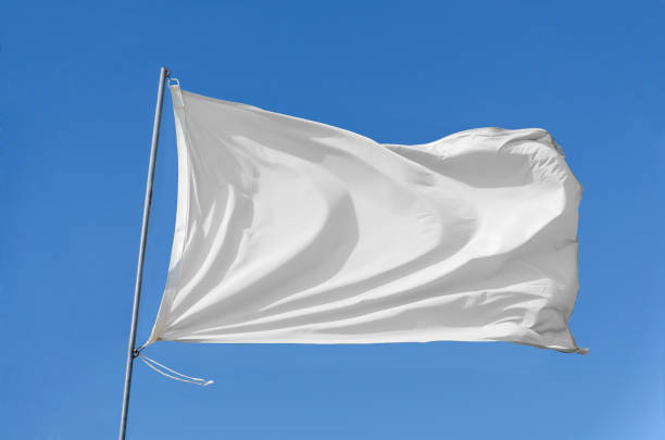 flag waving on the sky stock photo