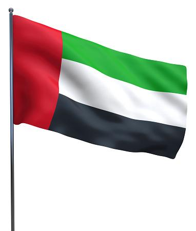 UAE Dubai and Abu Dhabi Emirates isolated flag.