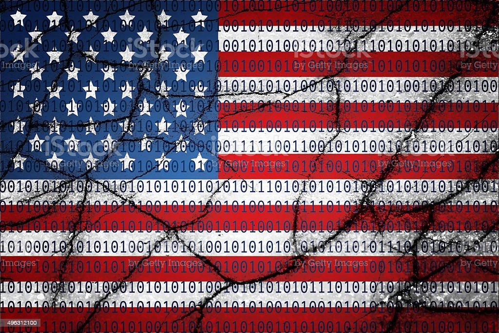USA flag with binary text and cracks stock photo