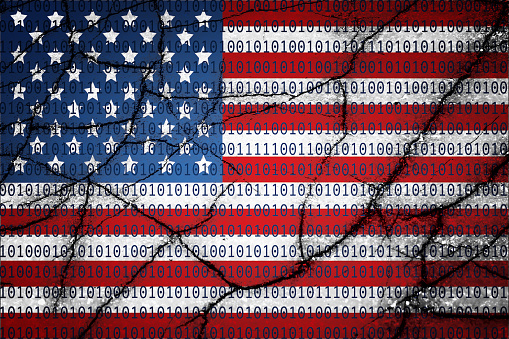 Usa Flag With Binary Text And Cracks Stock Photo - Download Image Now
