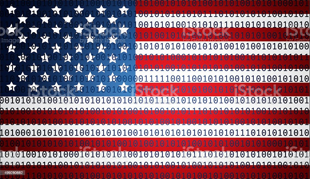USA flag with binary text stock photo