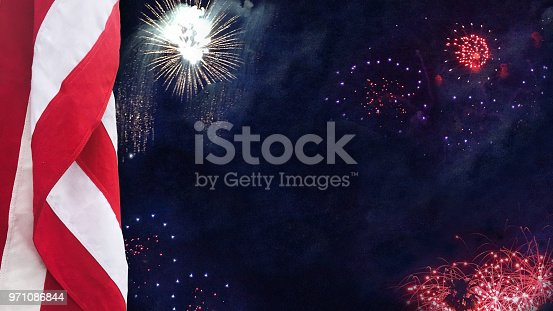 971061452 istock photo USA Flag With Celebration Fireworks 971086844