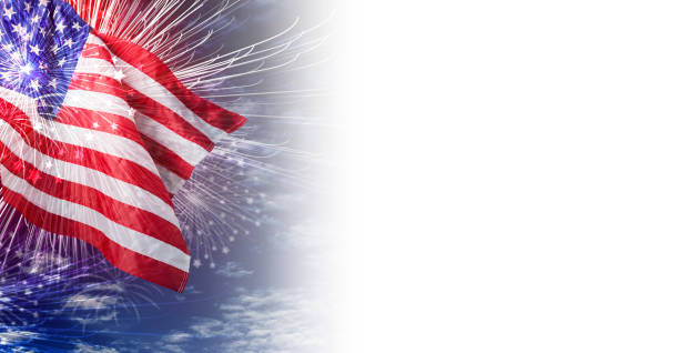 USA flag with firework and blue sky with cloud background stock photo