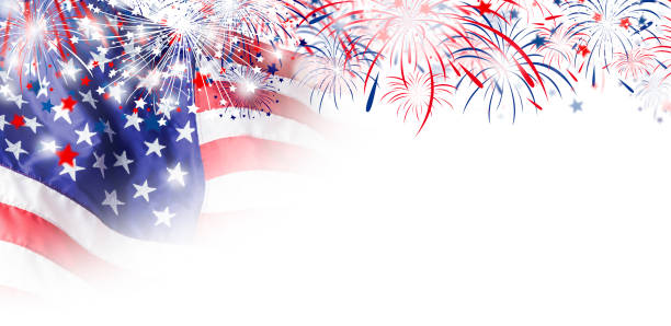 USA flag with firework on white background for 4 july independence day stock photo