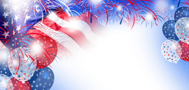 USA flag with fireworks and balloon background for 4 july independence day stock photo