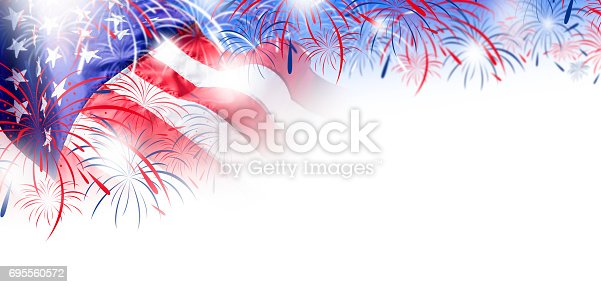 istock USA flag with fireworks background for 4 july independence day 695560572