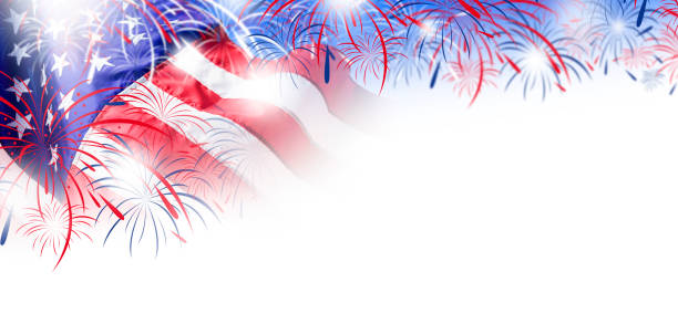 usa flag with fireworks background for 4 july independence day - fourth of july стоковые фото и изображения