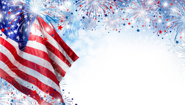 USA flag with fireworks background for 4 july independence day stock photo