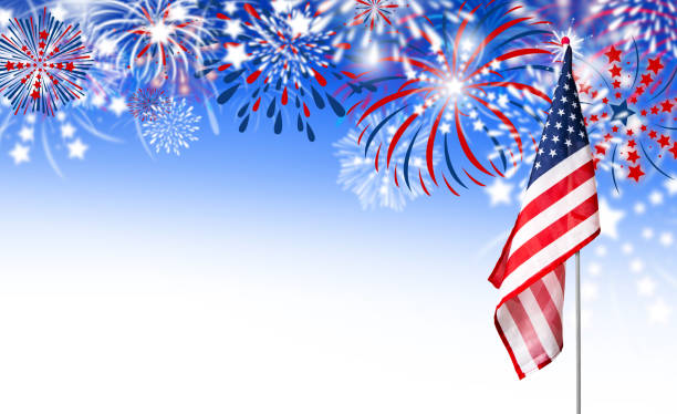 USA flag with fireworks background stock photo