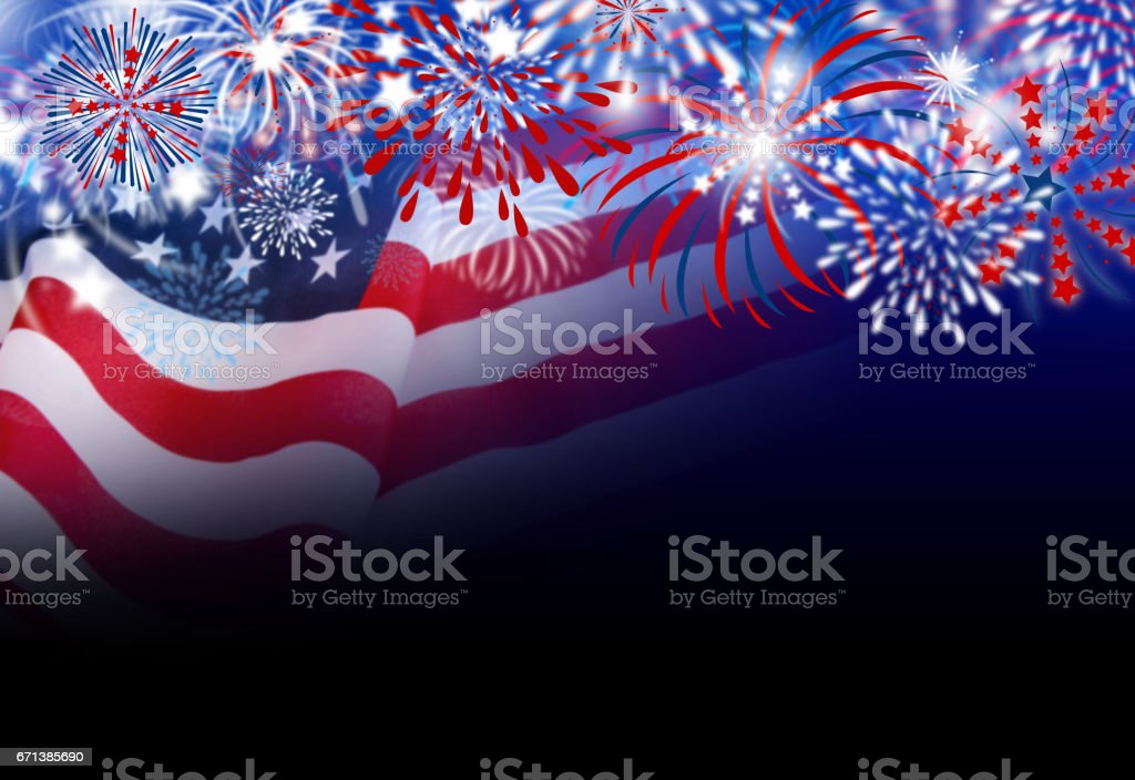 USA flag with fireworks design on black background stock photo