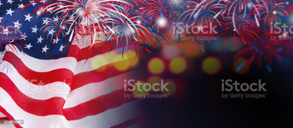 USA flag with fireworks on bokeh background stock photo