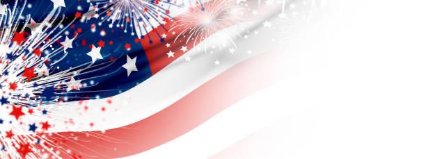 흰색 배경에 불꽃 놀이와 미국 국기 - columbus day 뉴스 사진 이미지
