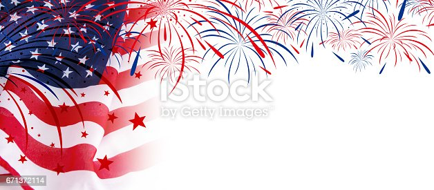 istock USA flag with fireworks on white background 671372114