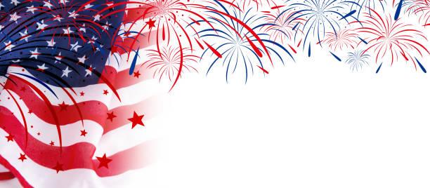 usa flag with fireworks on white background - fourth of july zdjęcia i obrazy z banku zdjęć