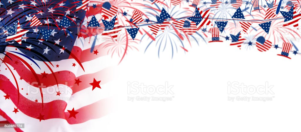 USA flag with fireworks on white background stock photo
