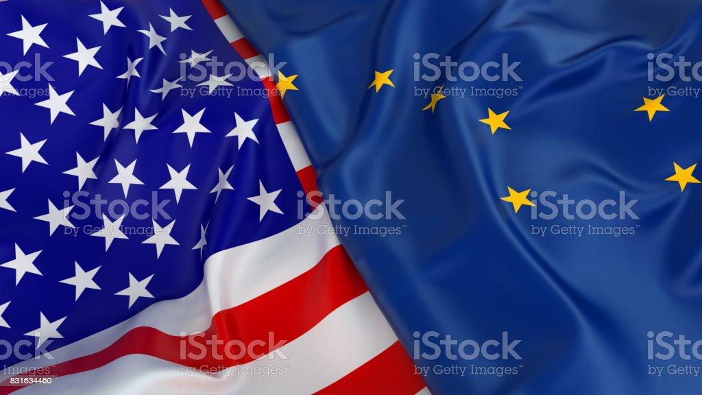 Bandeira do EUA com a bandeira do Alasca - foto de acervo