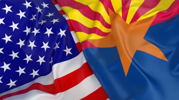 Bandeira do EUA com a bandeira do Arizona - foto de acervo