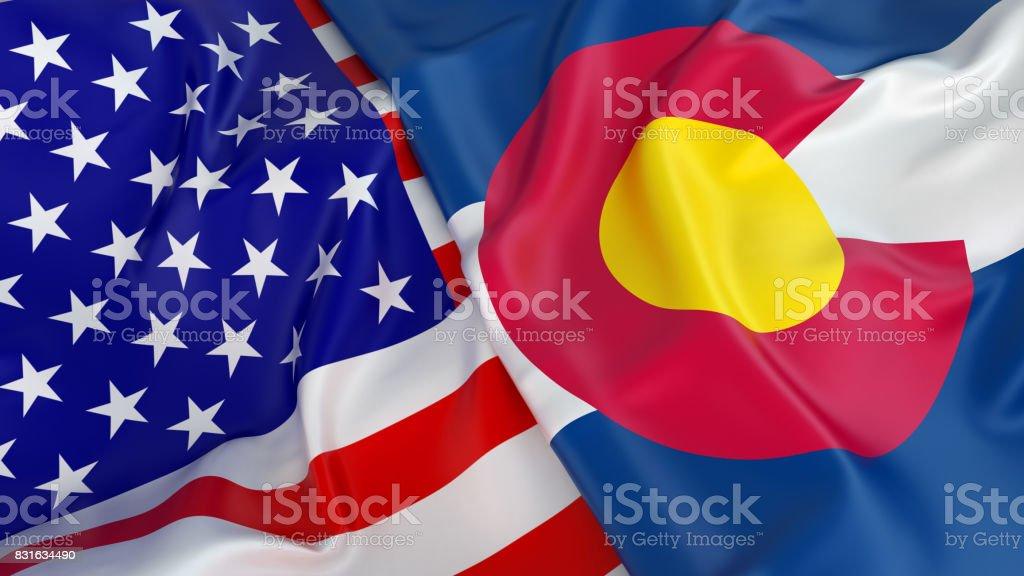 USA flag with flag of Colorado stock photo