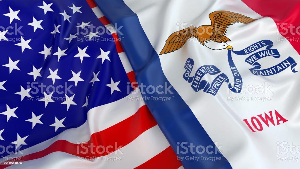 USA flag with flag of Iowa stock photo
