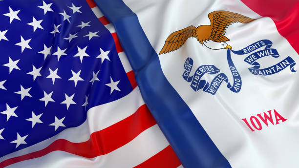 USA flag with flag of Iowa stock photo