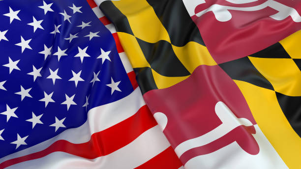 USA flag with flag of Maryland Close-up of USA flag with flag of Maryland maryland us state stock pictures, royalty-free photos & images