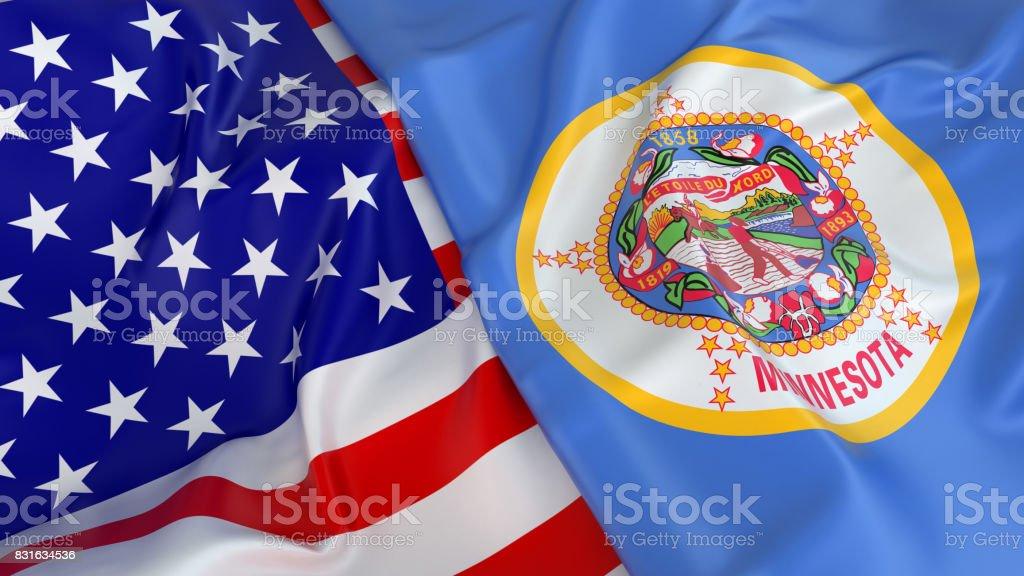 USA flag with flag of Minnesota stock photo