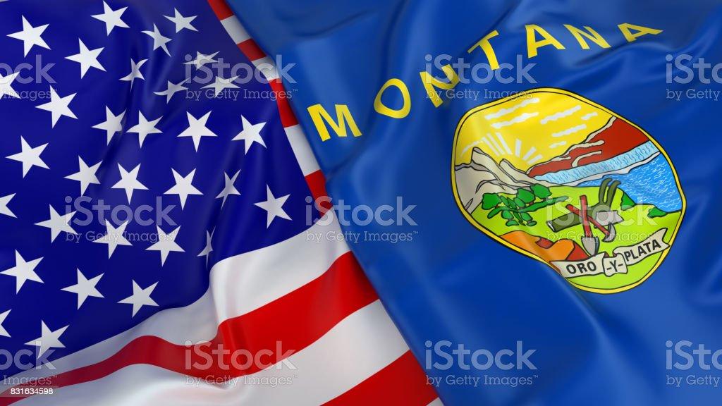 Bandeira do EUA com a bandeira da Montana - foto de acervo