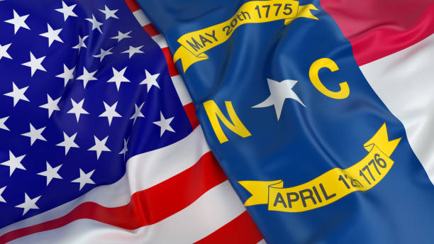 USA flag with flag of North Carolina Close-up of USA flag with flag of North Carolina north carolina us state stock pictures, royalty-free photos & images