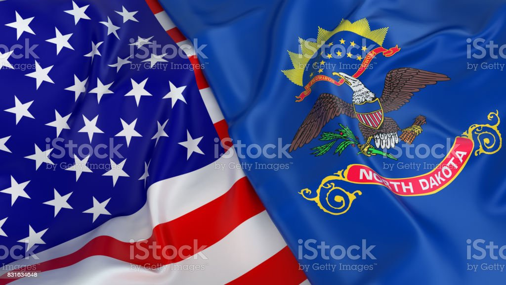 USA flag with flag of North Dakota stock photo