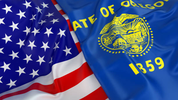 USA flag with flag of Oregon Close-up of USA flag with flag of Oregon oregon us state stock pictures, royalty-free photos & images