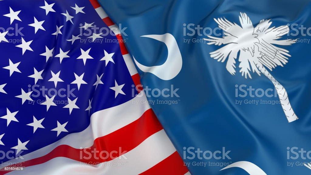 USA flag with flag of South Carolina stock photo