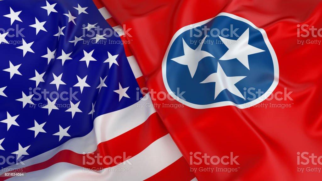 Bandeira do EUA com a bandeira do Tennessee - foto de acervo