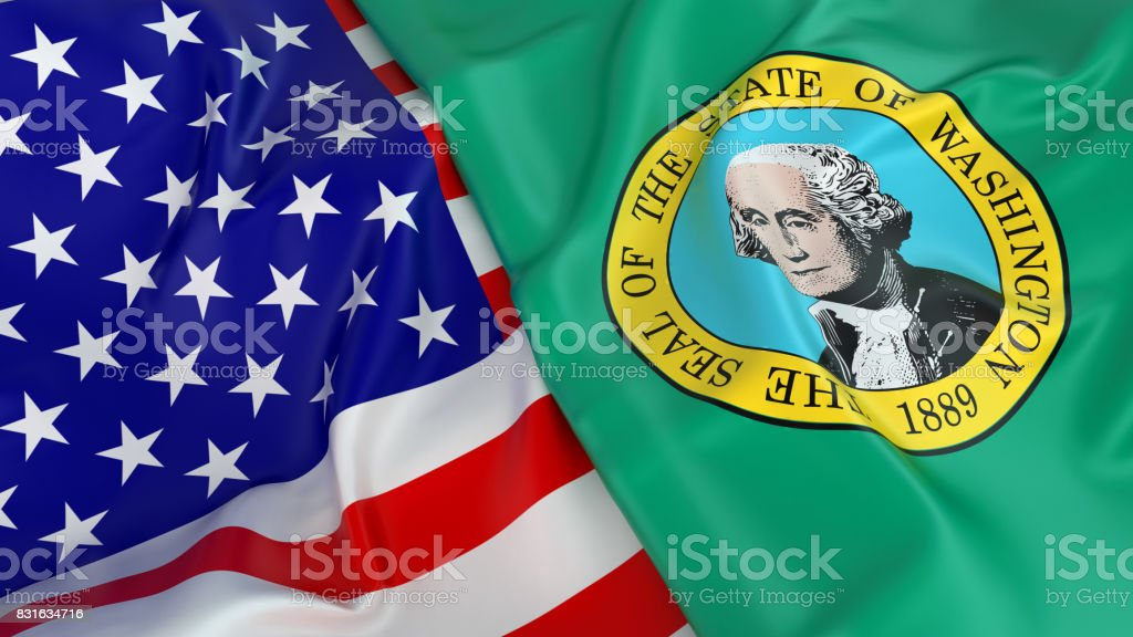 USA flag with flag of Washington stock photo
